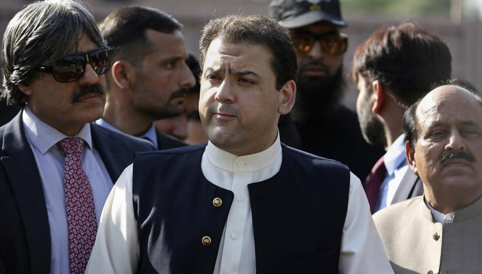 Hussain Nawaz, center, son of Pakistan's Prime Minister Nawaz Sharif, talks to reporters outside the premises of the Joint Investigation Team, in Islamabad, Pakistan.