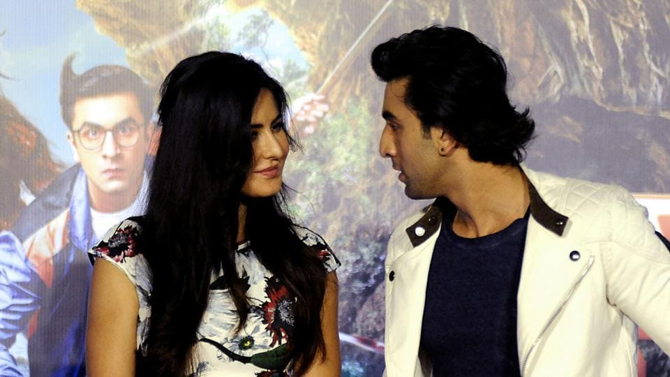 Katrina Kaif and Ranbir attend the song launch event for their upcoming romantic comedy Hindi film Jagga Jasoos in Mumbai.