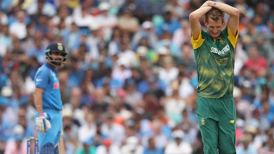 South Africa cricket team's Christopher Morris expresses his angst as they struggled to get the Indian wickets during their ICC Champions Trophy 2017 match at The Oval, London, onSunday.