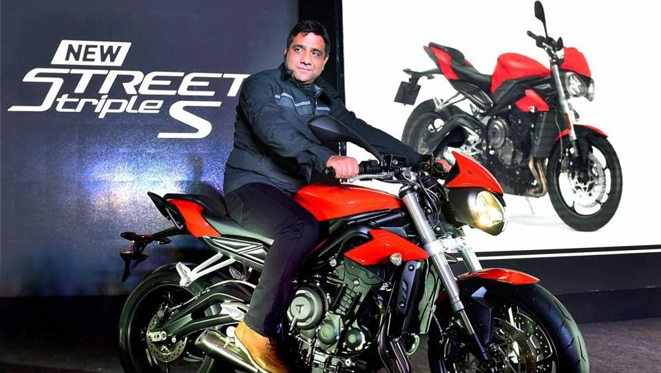 Triumph Motorcycles IndiaMDVimal Sumbly at the launch of the Triumph 2017 Street Triple S in New Delhi on Monday.