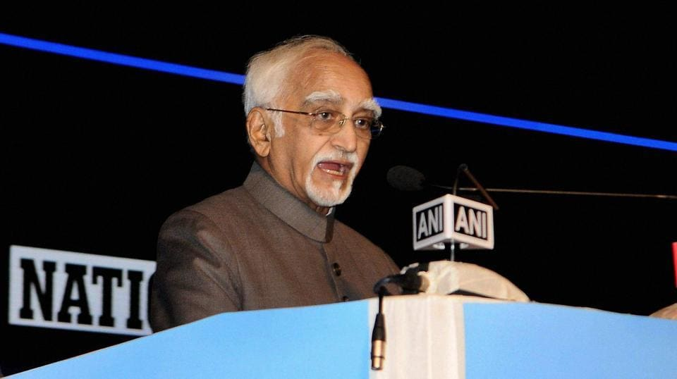 Vice President Hamid Ansari spoke about press freedom after releasing the commemorative edition of National Herald, in Bengaluru, Karnataka on June 12, 2017.