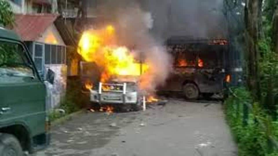 File picture of police vehicles set ablaze allegedly by GJM supporters in Darjeeling on June 8. With the hill parties unanimously deciding to push for a separate state, the confrontation with the Mamata Banerjee administration may intensify in the coming days.