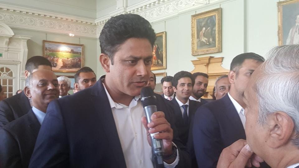 Head coach Anil Kumble also spoke on the occasion. (HT Photo)