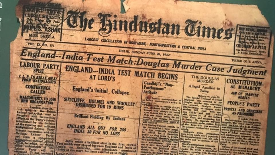 A cut-out of the Hindustan Times edition from June 26, 1932, pictured at the event. (HT Photo)