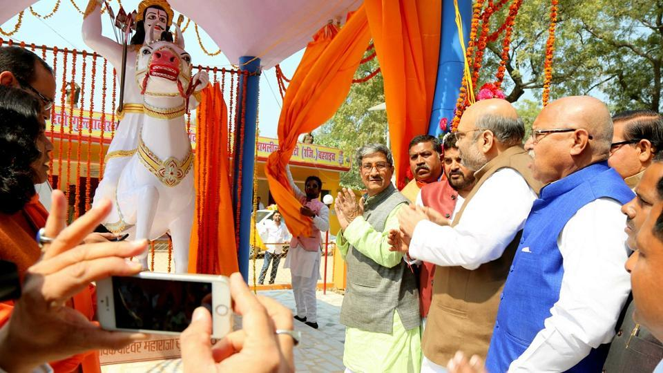 BJPpresident Amit Shah unveils the statue of Dalit king Raja Suheldev on February 24 this year.