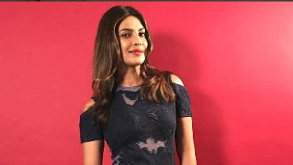 Priyanka Chopra in a panelled mesh dress.