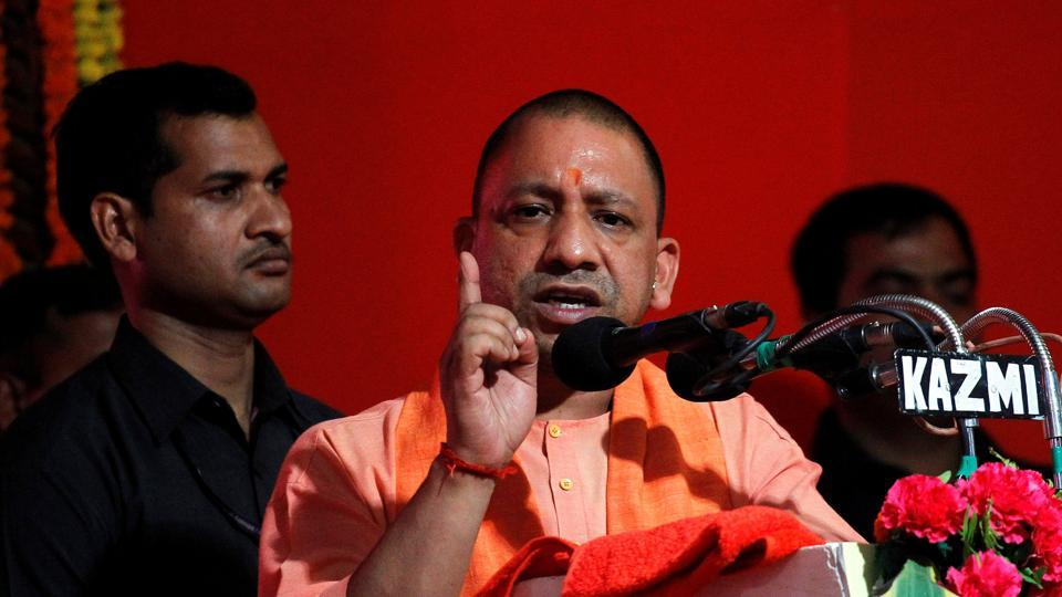 Yogi Adityanath addresses the audience after inaugurating power projects in Allahabad on June 4, 2017.