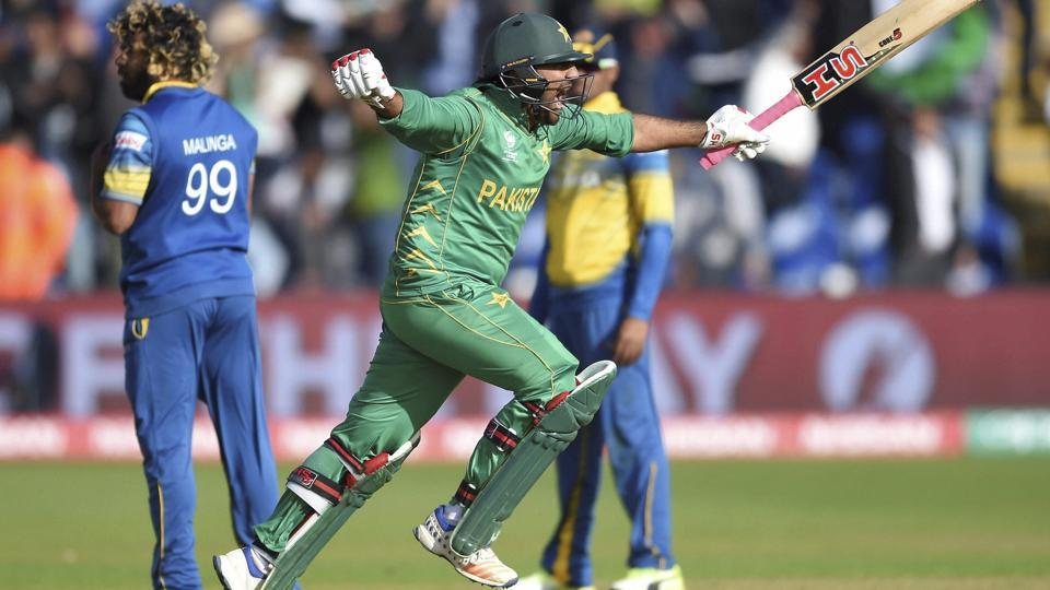 Pakistan captain Sarfraz Ahmed celebrates hitting the winning runs in the ICC Champions Trophy Group B match vs Sri Lanka at Cardiff on Monday.