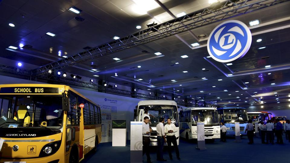 Visitors having a look at Ashok Leyland's range of trucks that are displayed at the AUTOEXPO in Chennai.