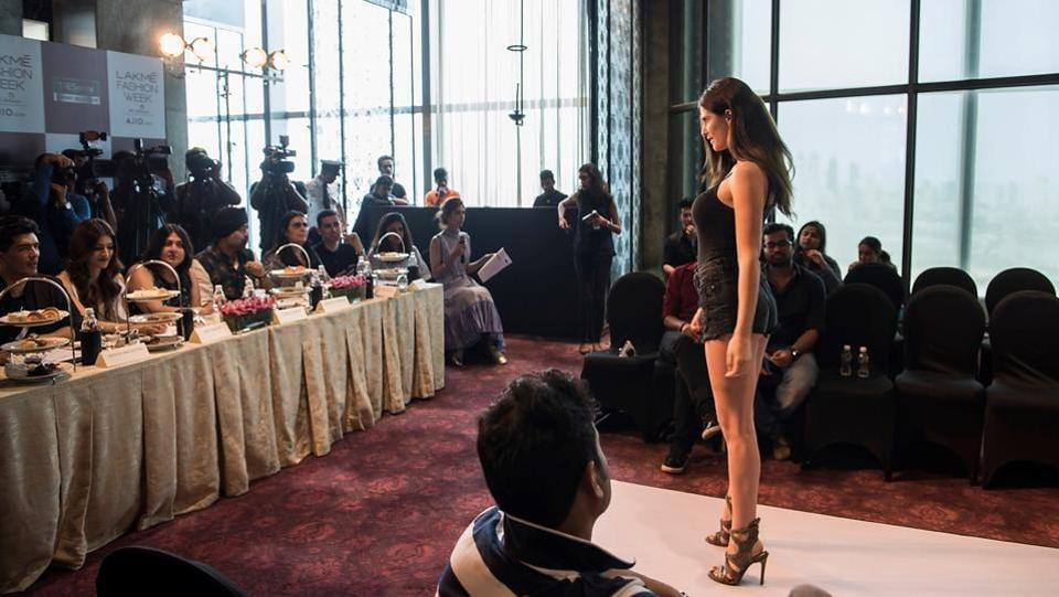 A model interacts with the jury during the auditions. (Aalok Soni/HT Photo)