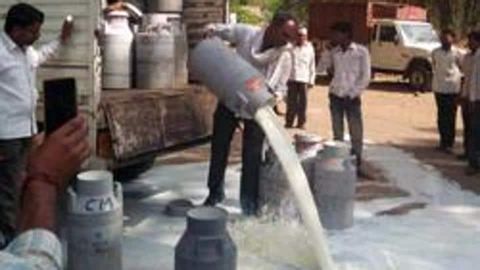 Farmers spill milk on roads during their protest in Aurangabad, Maharashtra .