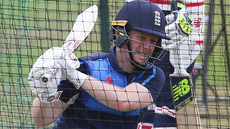 England cricket captain Eoin Morgan attends a team training session ahead of their ICC semi final against Pakistan.