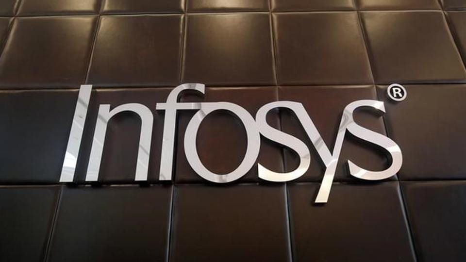 The logo of Infosys is pictured inside the company's headquarters in Bengaluru, India, April 13, 2017.