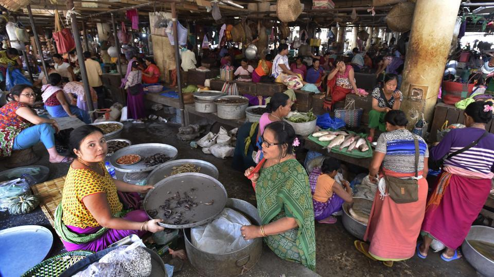 The marketplace operates on its unwritten rules, solidarity and has its own unions. Women fill roles ranging from suppliers and middlemen to sellers and buyers.   (Raj K Raj/HT PHOTO)