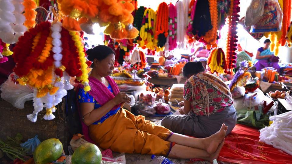 In the heart of Imphal over 3000 vendors gather at daybreak bringing to life the Ima Keithel, a nearly 500 year old market run exclusively by women. Also known as the Mother's Market this one of a kind marketplace is an icon of women's empowerment and their role in Manipur's history. (Raj K Raj/HT PHOTO)