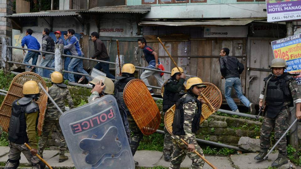 Police baton-charge supporters of the Gorkha Janmukti Morcha  in Darjeeling. The GJM called an all-party meeting and appealed to the Centre to take decisive steps towards making Gorkhaland a separate state. (AFP)