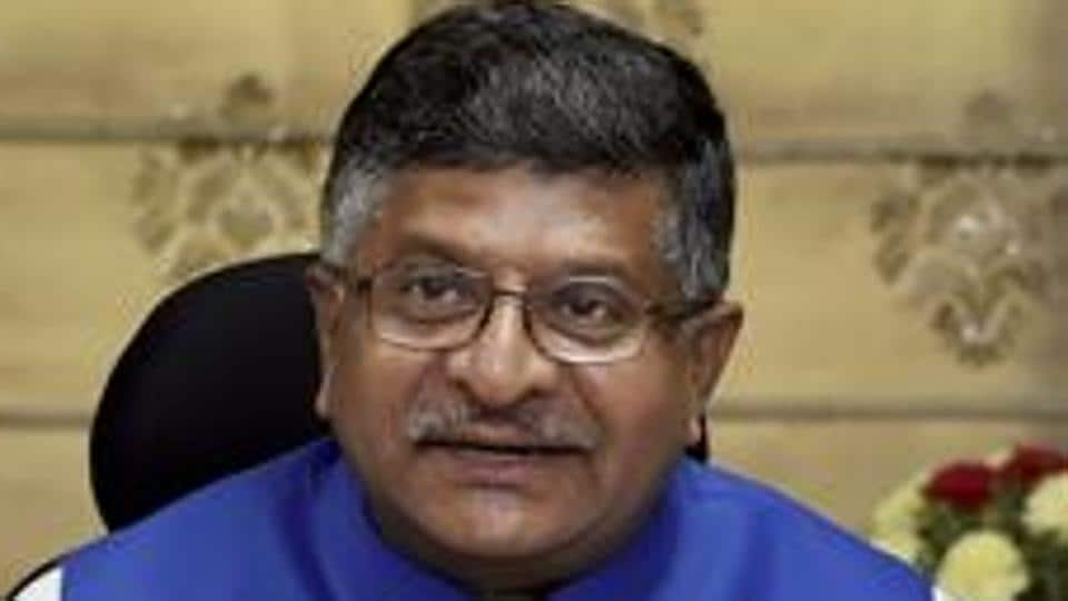 Union IT minister Ravi Shankar Prasad addresses a press conference on the achievements of the ministry in New Delhi on May 23.
