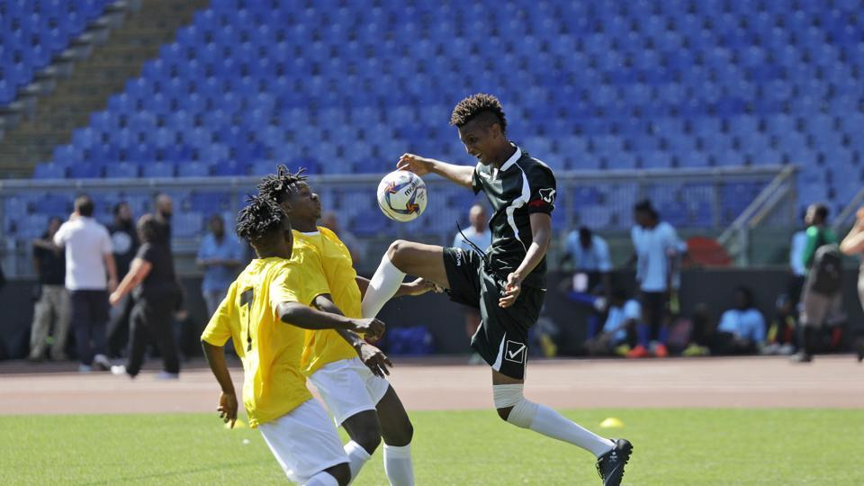 A friendly soccer tournament was organised for migrants and refugees at a sporting event to promote social integration, organized by CONI (Italian National Olympic Committee) with local migrant centers, at Rome's Olympic stadium.