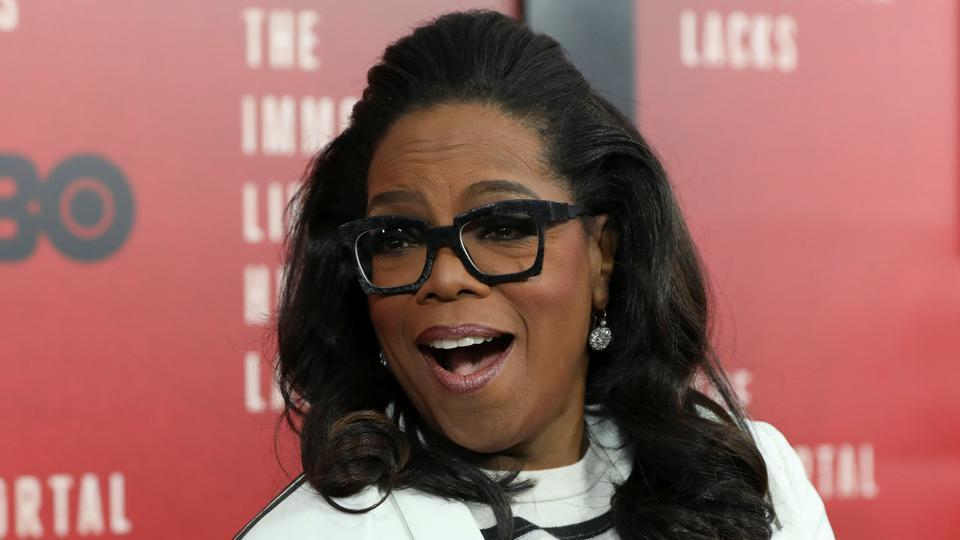 Oprah Winfrey smiles at the premiere of The Immortal Life of Henrietta Lacks in New York.