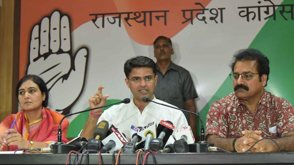 State congress president Sachin Pilot interacts with the in Jaipur on Tuesday.