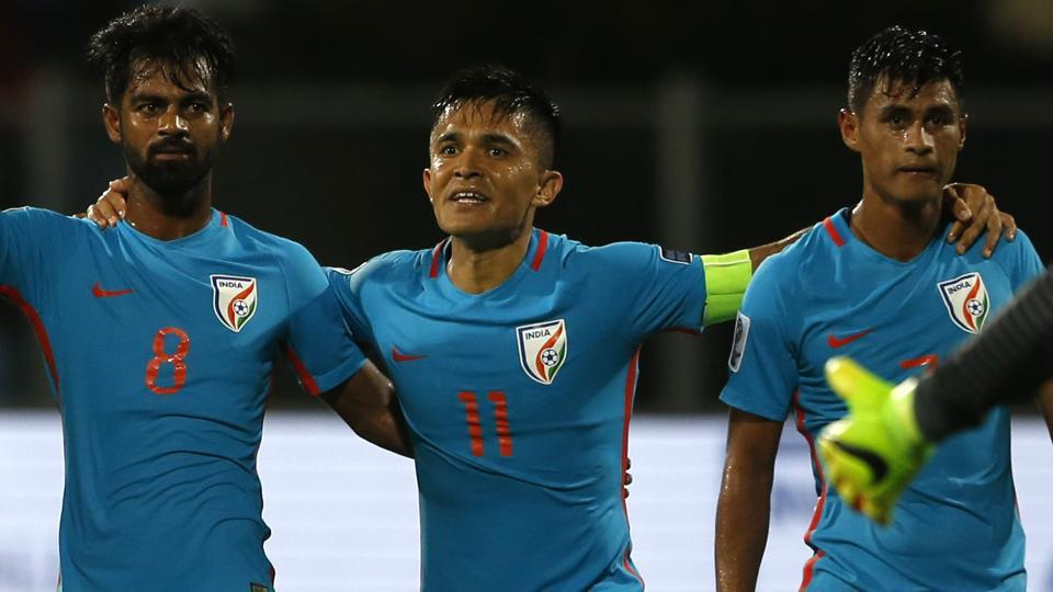 India's captain Sunil Chhetri, second left, celebrates with teammates their win over Kyrgyz Republic in the AFC Asian Cup  qualifier.
