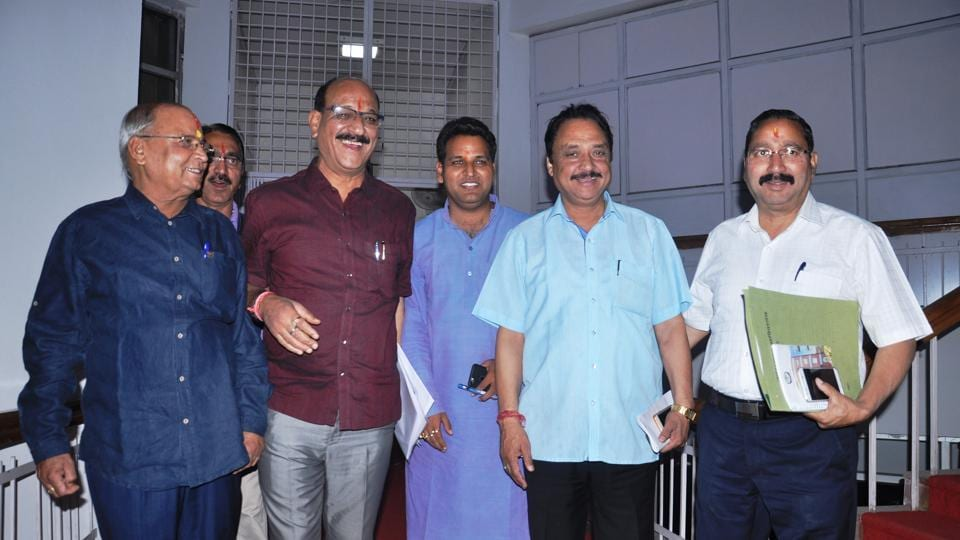 State agriculture minister Subodh Uniyal (second from left), along with other BJP MLAs, comes out of the House on Tuesday.