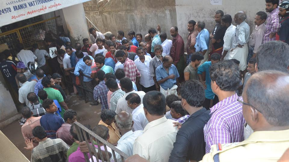 Serpentine queues outside liquor outlets in Kerala.