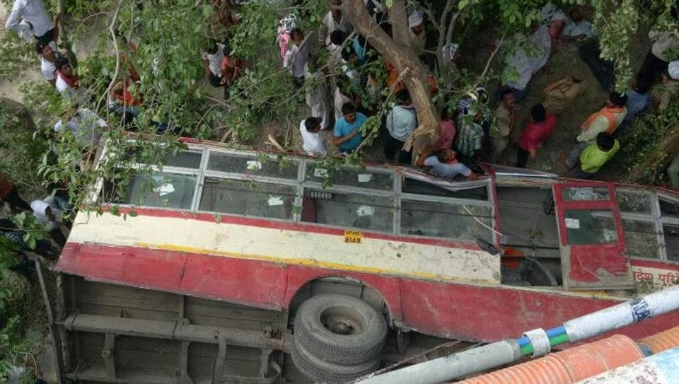 Eight people were killed when a bus fell into Sai river in UP.