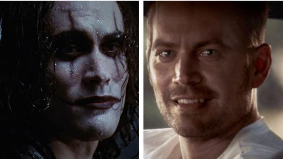 Brandon Lee (L) and Paul Walker (R), were both resurrected on screen after their sudden deaths.