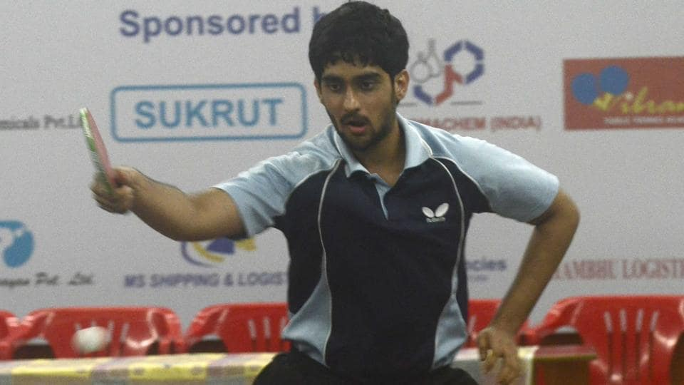 City-based paddler Shubhankar Renavnikar playing a shot at the Friendship Cup district ranking table tennis tournament. He defeated Chinmay Datar 4-1 to lay his hands on the trophy.