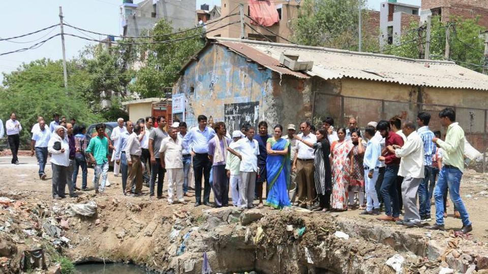 NDMC mayor Preeti Agarwal visited PWD drains at Britannia Chowk, Model Town, Wazirpur Industrial area, Azadpur and Jahangirpuri.