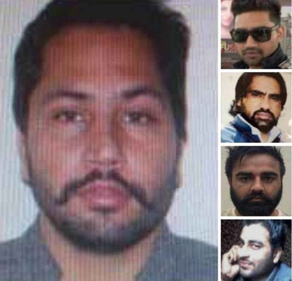 (left) Gangster Jaipal, (from right top) Tirath Singh, Gurbaksh Sewewala, Harjinder Singh Vicky Gounder, Jaspreet Singh Goppy Ghanshampria.