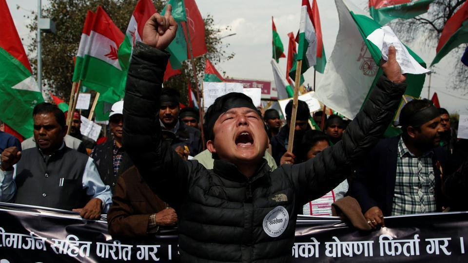 Activists take part in a rally to support ethnic Madhesis during a demonstration in Kathmandu.