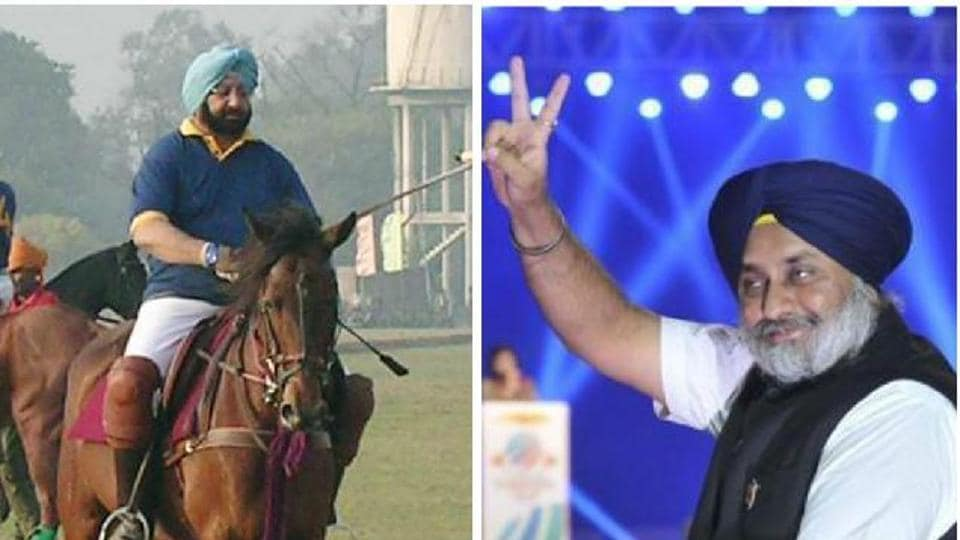 (Left) Captain Amarinder Singh at New Polo Ground in Patiala and Shiromani Akali Dal president Sukhbir SinghBadal.