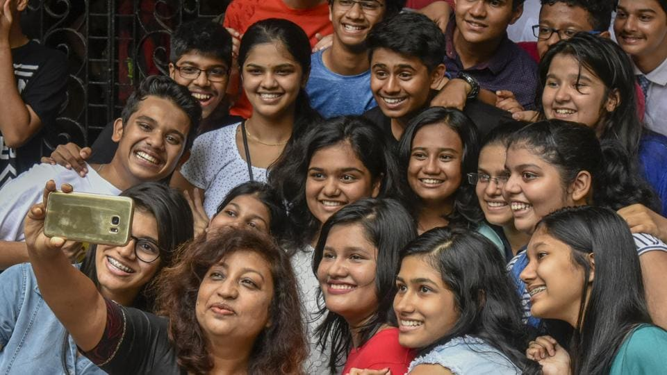 Students pose for a selfie at a Dadar school after the results were declared.
