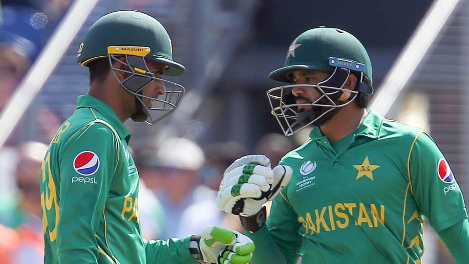 Fakhar Zaman (L) and Azhar Ali in action during the ICC Champions Trophy semi-final cricket match between England and Pakistan in Cardiff.Catch full cricket score of England vs Pakistan here