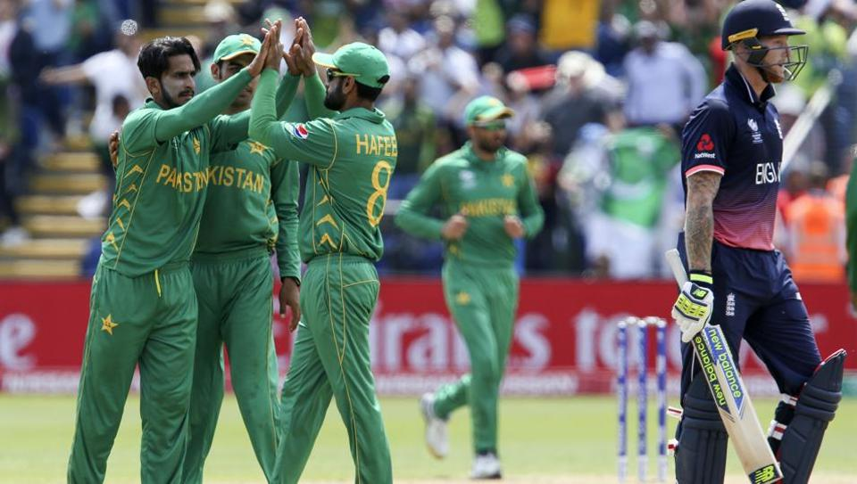 Pakistan players celebrate the wicket of England's Ben Stokes during the ICC Champions Trophy 2017 semi-final.