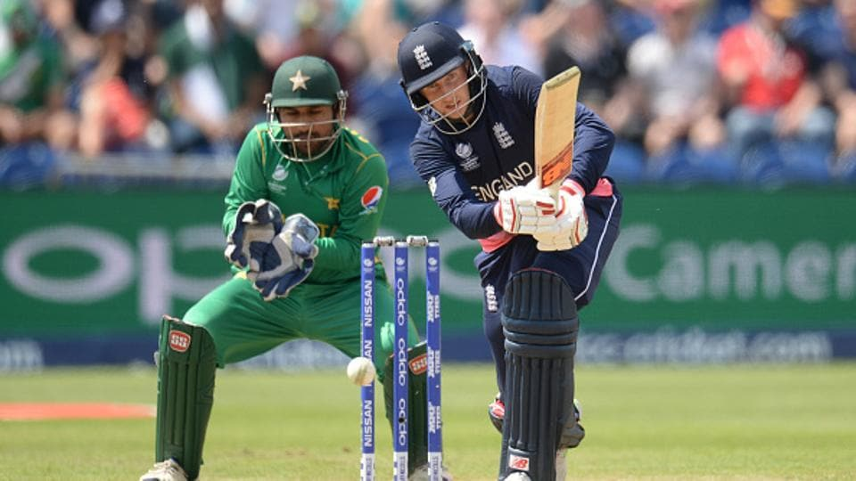 Joe Root,  England's top-scorer (46), fell after an edged cut off leg-spinner Shadab Khan was well held by wicket-keeper Sarfraz Ahmed.  (Getty Images)