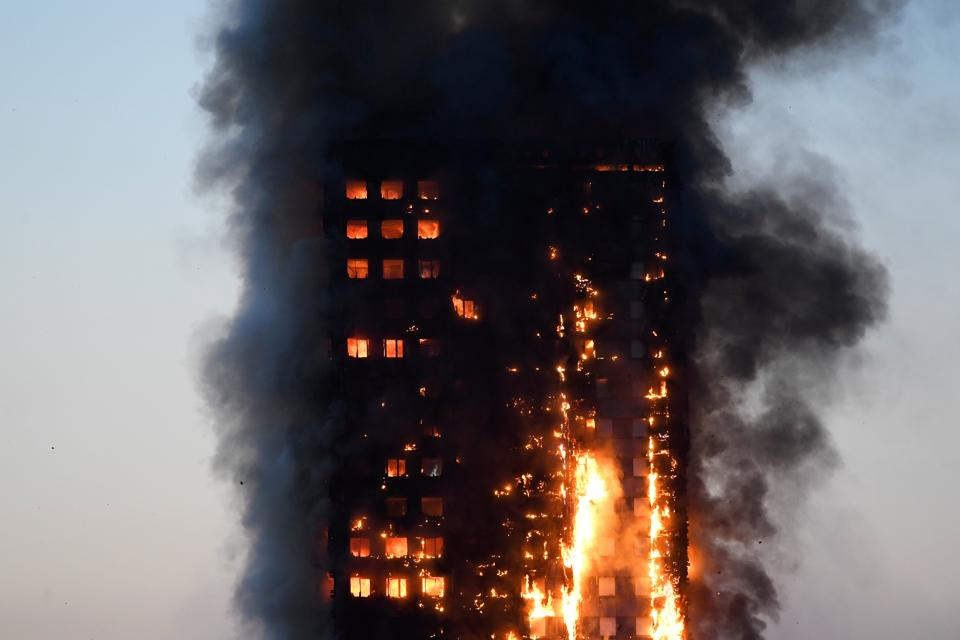 Fire engulfs 24-storey apartment block in West London