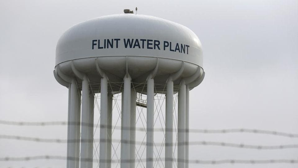 The top of the Flint Water Plant tower is seen in Flint, Michigan February 7, 2016.