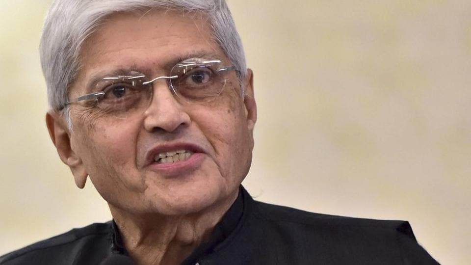 Gopal Krishna Gandhi speaks during a book launch event in New Delhi.