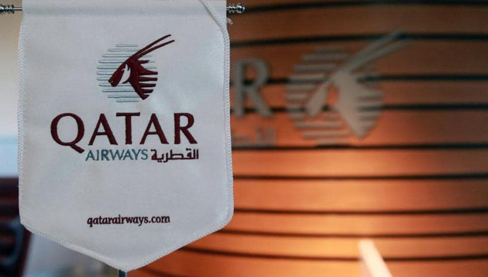 A logo of Qatar Airways is seen at Hamad International Airport in Doha, Qatar June 12, 2017.