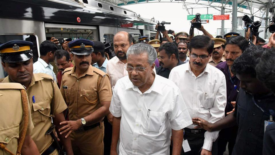 Chief Minister Pinarayi Vijayan, who is also the Minister in-charge of Kochi Metro arrives to travel in a Metro train in Kochi on June 3, 2017.