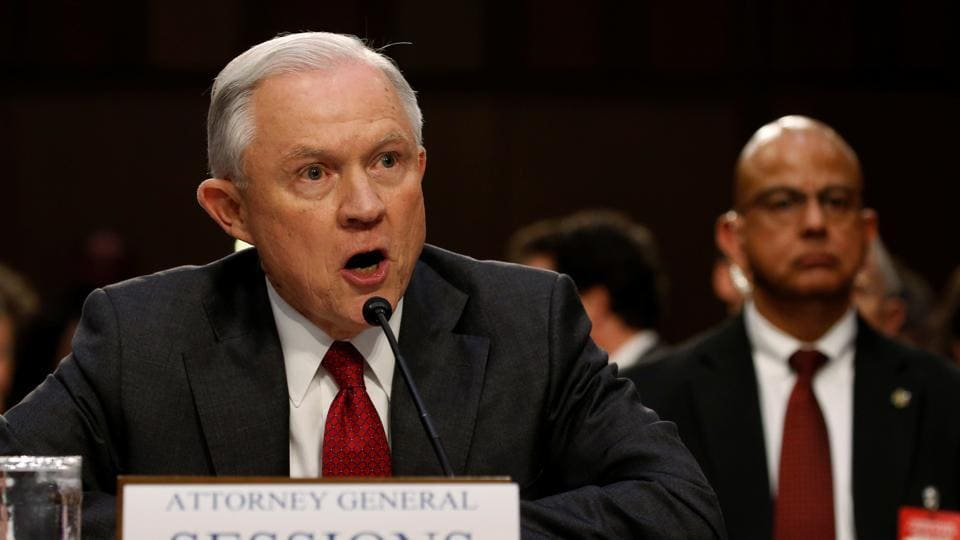 US attorney general Jeff Sessions testifies before a Senate Intelligence Committee hearing on Capitol Hill in Washington, US on Tuesday.