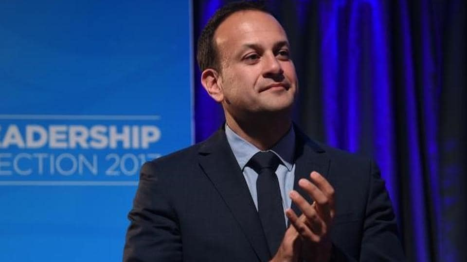 Leo Varadkar applauds on stage to make his acceptance speech at the count centre as he wins the parliamentary elections in Dublin.