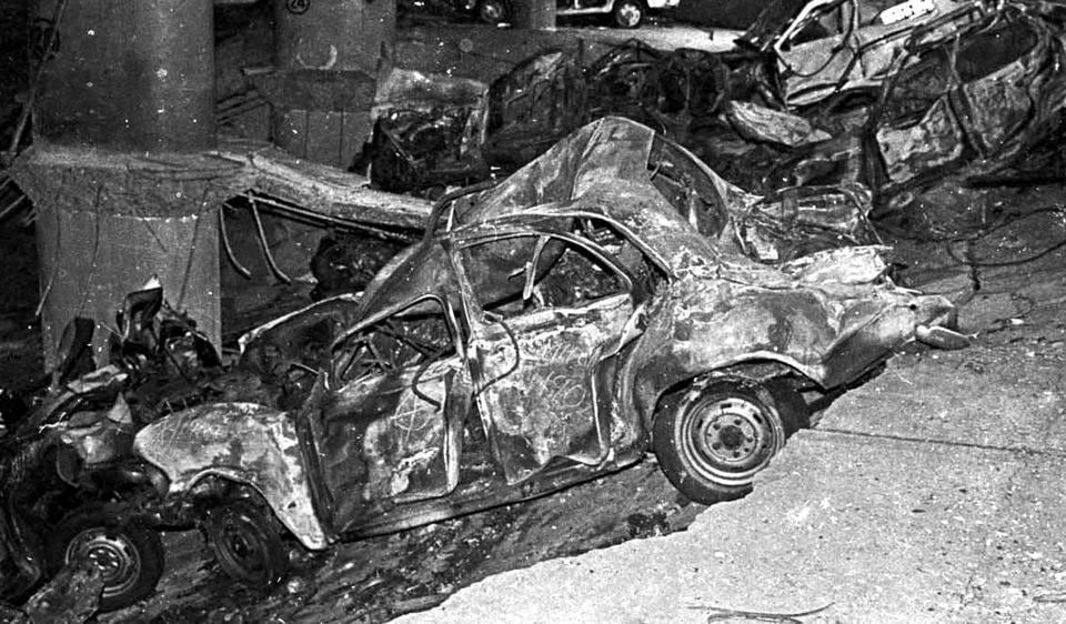 A mangled car in the basement of BSE after the blast.