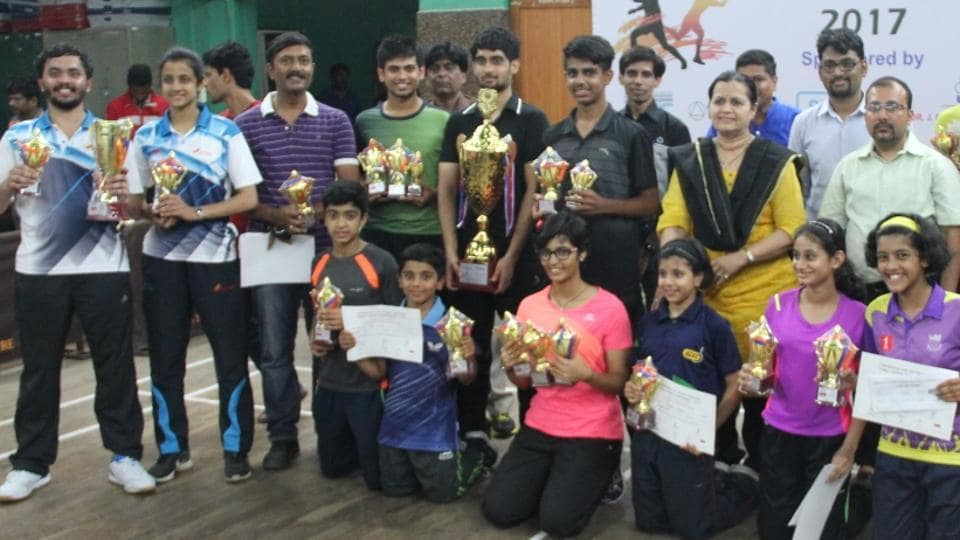 Eesha Joshi (kneeling, 3rd from left) is seen with the other champions at the Friendship Cup tournament in Pune.