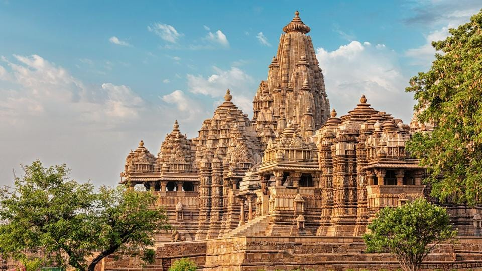 The Khajuraho temples in MP's Chhatarpur district. The temple,a Unesco world heritage site, is famous for the graceful erotic sculptures on its outer walls.