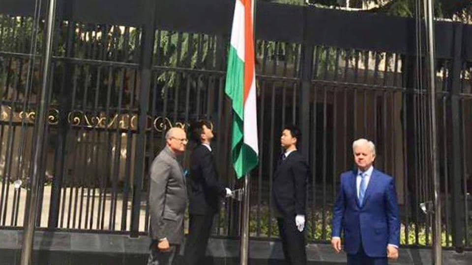 The Indian flag being raised for the first time at the SCO headquarters in Beijing.