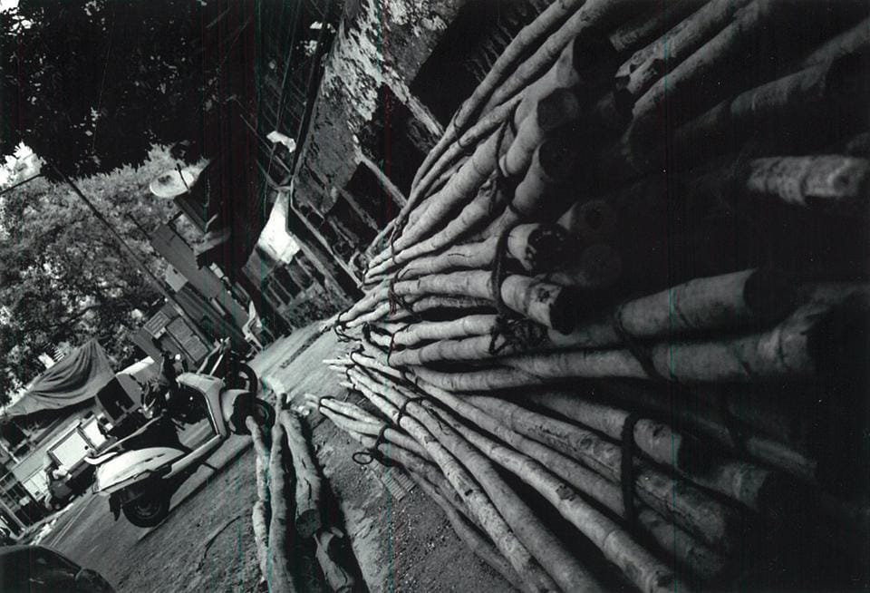 """Dhairya Suresh Mehta, an 18-year-old student from Bhuj, Gujarat, bagged first prize for this shot of scaffolding material on a pavement. """"This was an unusual angle to shoot from, interesting composition and captured the idea of street photography well,"""" says photographer Ram Rahman, who judged the contest."""